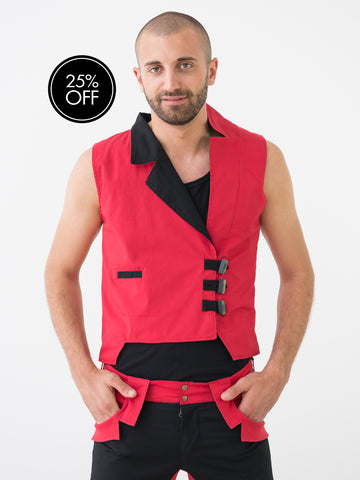Mens' Red Asymmetrical Suit Vest