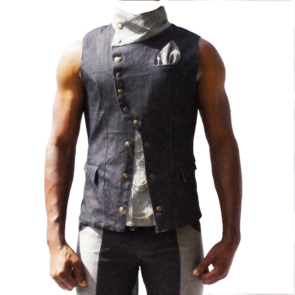 Elegant denim vest with removable coat-tails