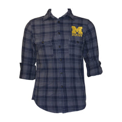 Michigan Rugby Flannel Long Sleeve Shirt - Navy