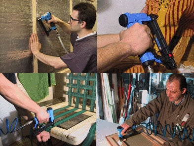 People using air staple guns
