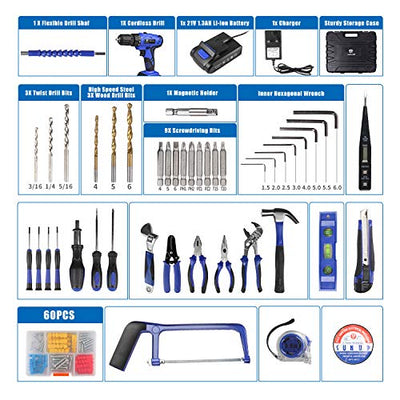 The LETTON Cordless Tool Set and Drill for Home repairs includes a lot