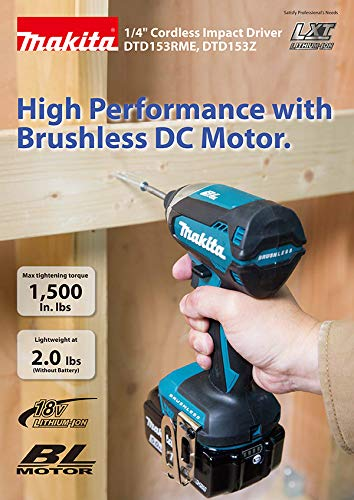 Close up of the Makita DTD153Z 18V Li-ion Brushless Impact Driver-Body Only