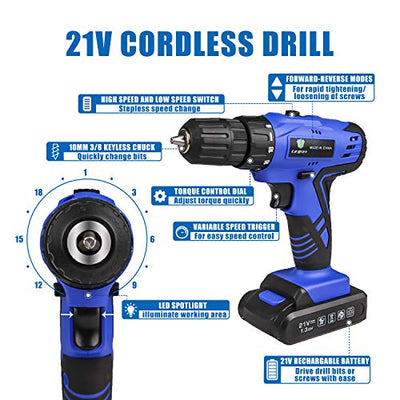 Close up image of the LETTON Cordless Tool Set and Drill