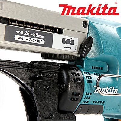 Close up image of the Makita DFR550Z 18V Cordless Li-Ion Auto-Feed Screwdriver