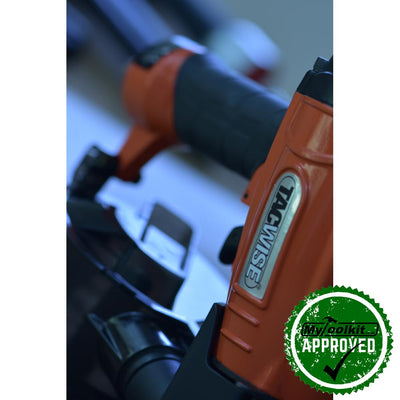 Tacwise  FCN57V flat coil nailer on wood close up of tool