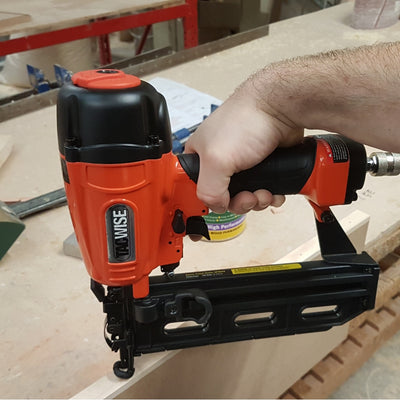 GDA64V Tacwise 15 Gauge Inclined Air Brad Nailer in action in a workshop