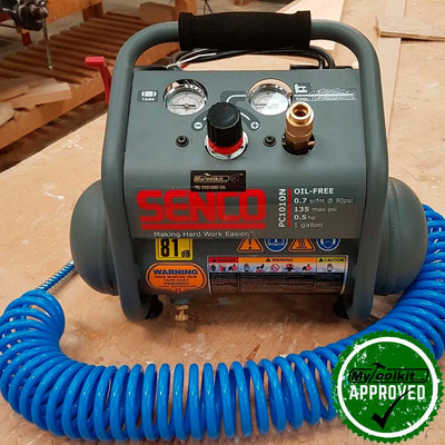 Senco 3.8 Litre Oil Free Compressor on workbench