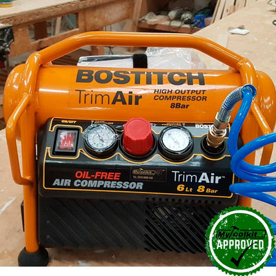 Bostitch 6 Litre Rollcage Compressor 240V MRC6-U with hose