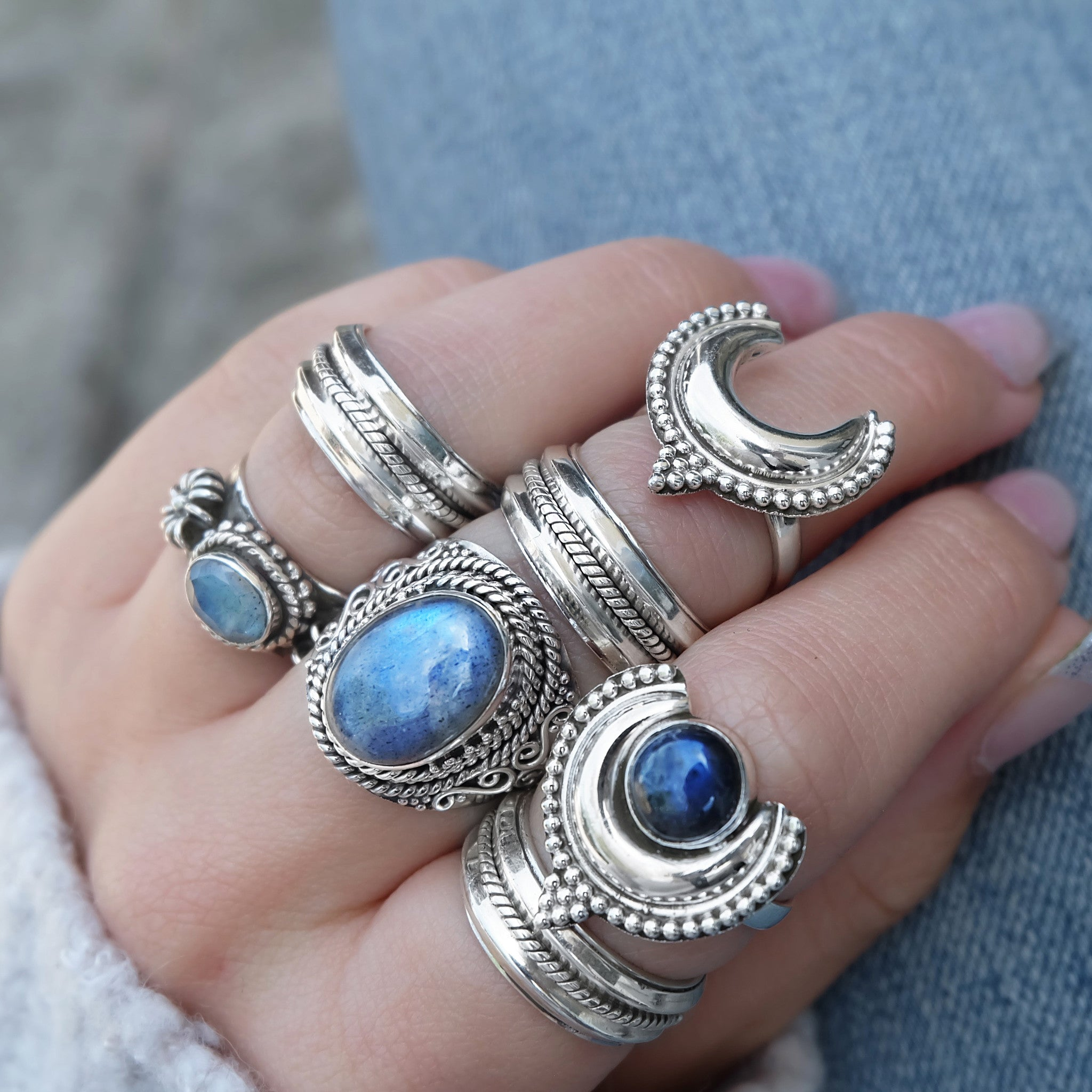 CRESCENT MOON LUNA OF THE VALLEY RING