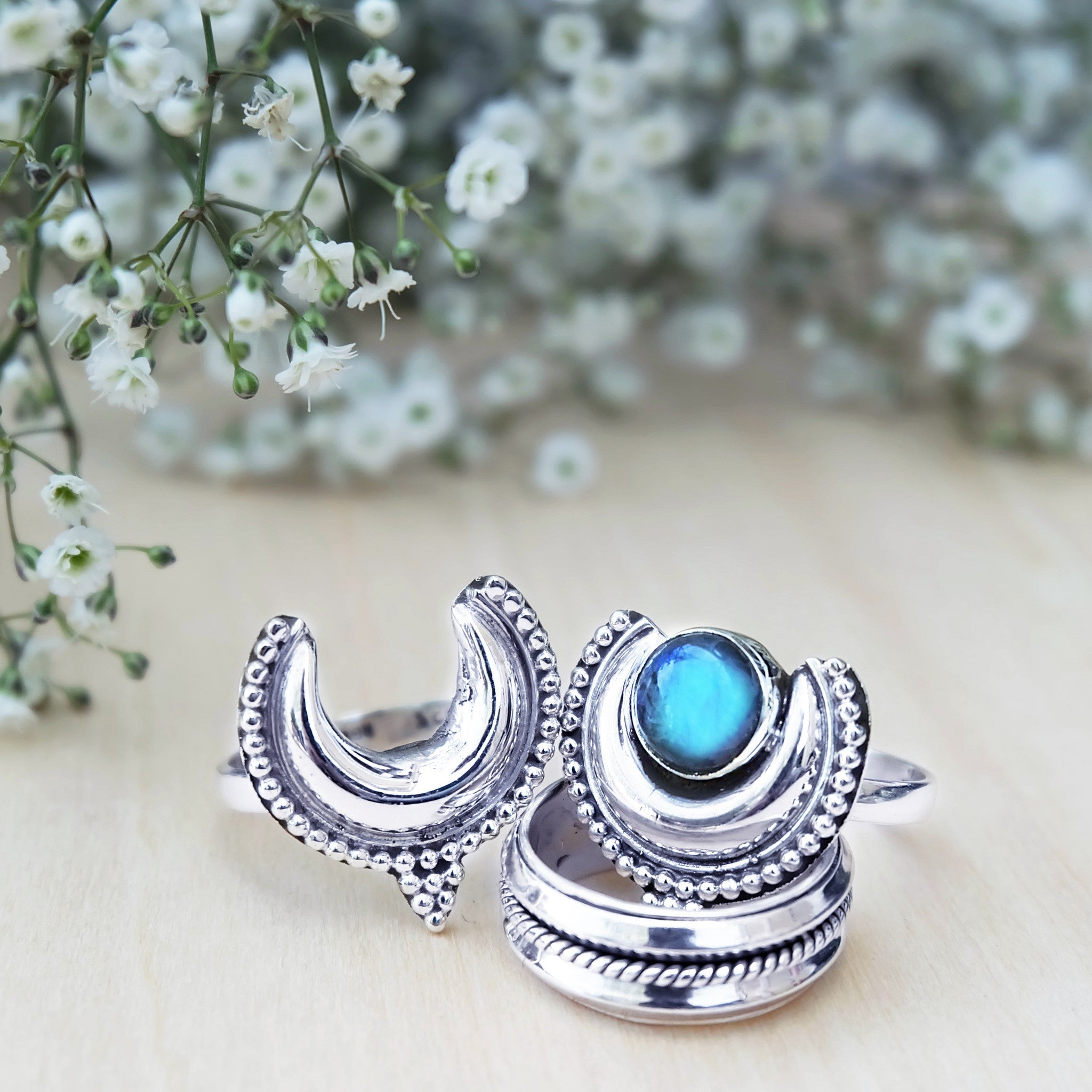 LABRADORITE CRESCENT MOON EMPRESS RING