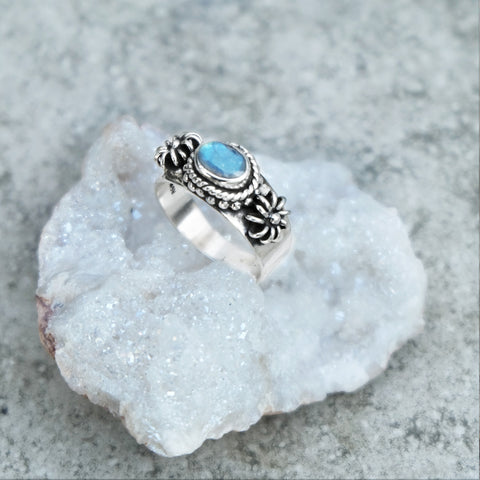 RAINBOW MOONSTONE OCEANS BLUE RING