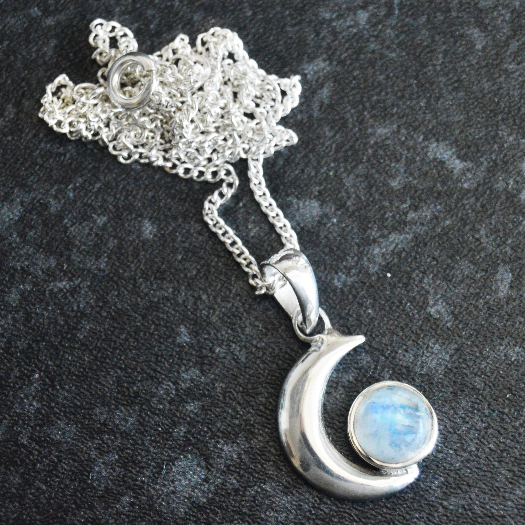 STERLING SILVER RAINBOW MOONSTONE CRESCENT MOON NECKLACE