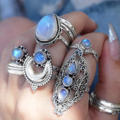 RAINBOW MOONSTONE HIGH PRIESTESS RING