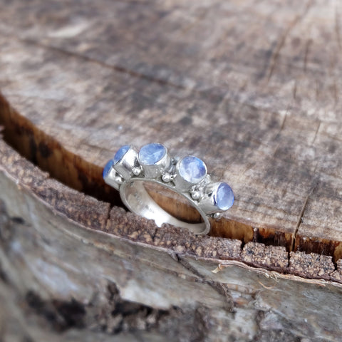 STERLING SILVER RAINBOW MOONSTONE NARLA RING