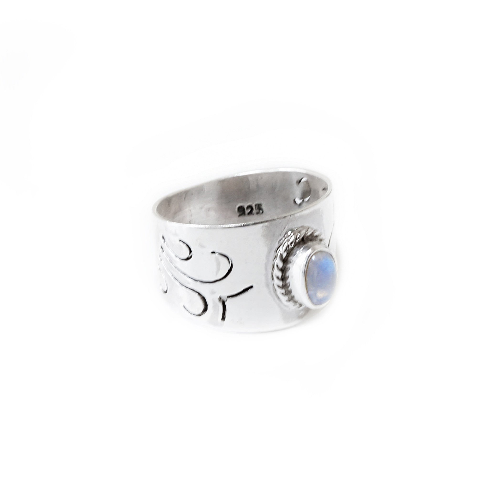 STERLING SILVER RAINBOW MOONSTONE NIMUEH BAND