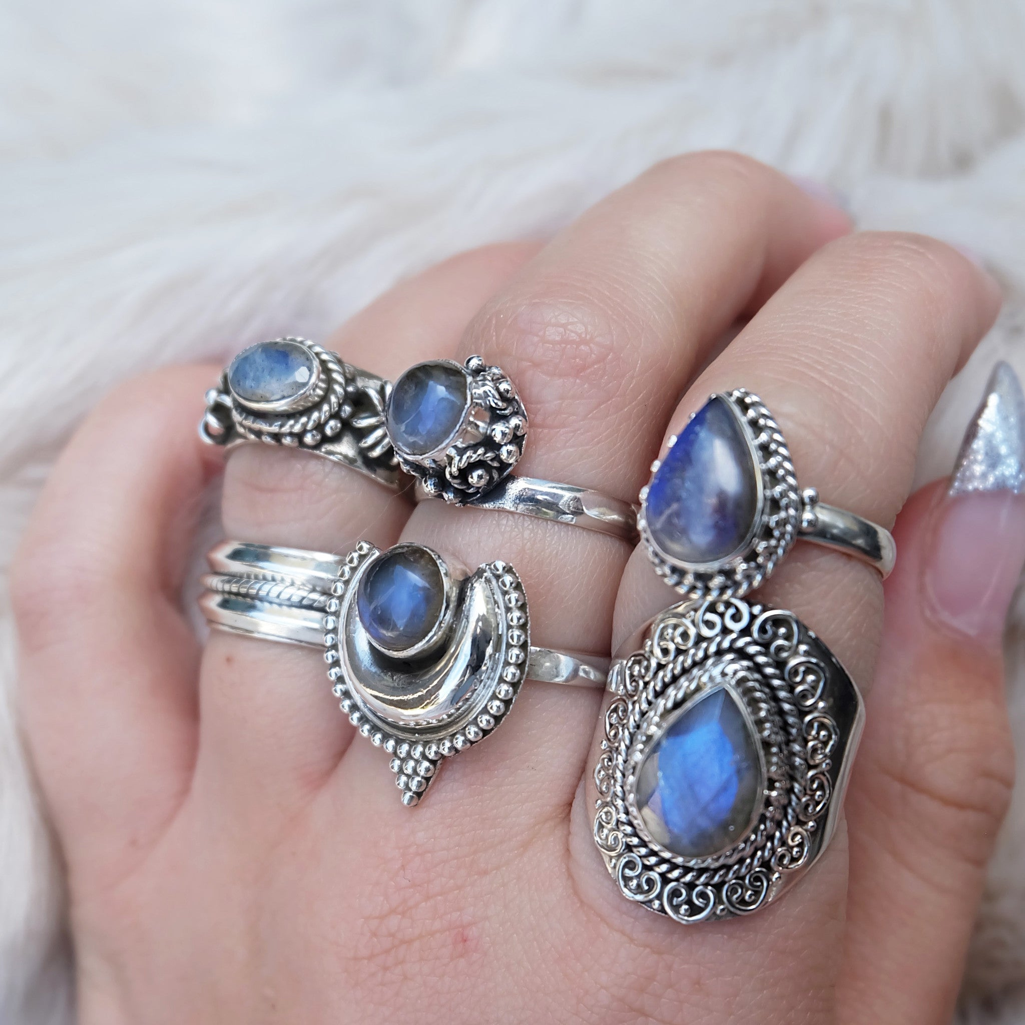 RAINBOW MOONSTONE DROPLET RING