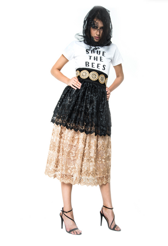 BLACK/GOLD LACE SKIRT