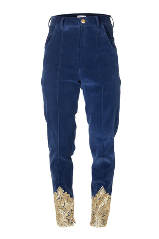 BLUE VELVET TROUSERS