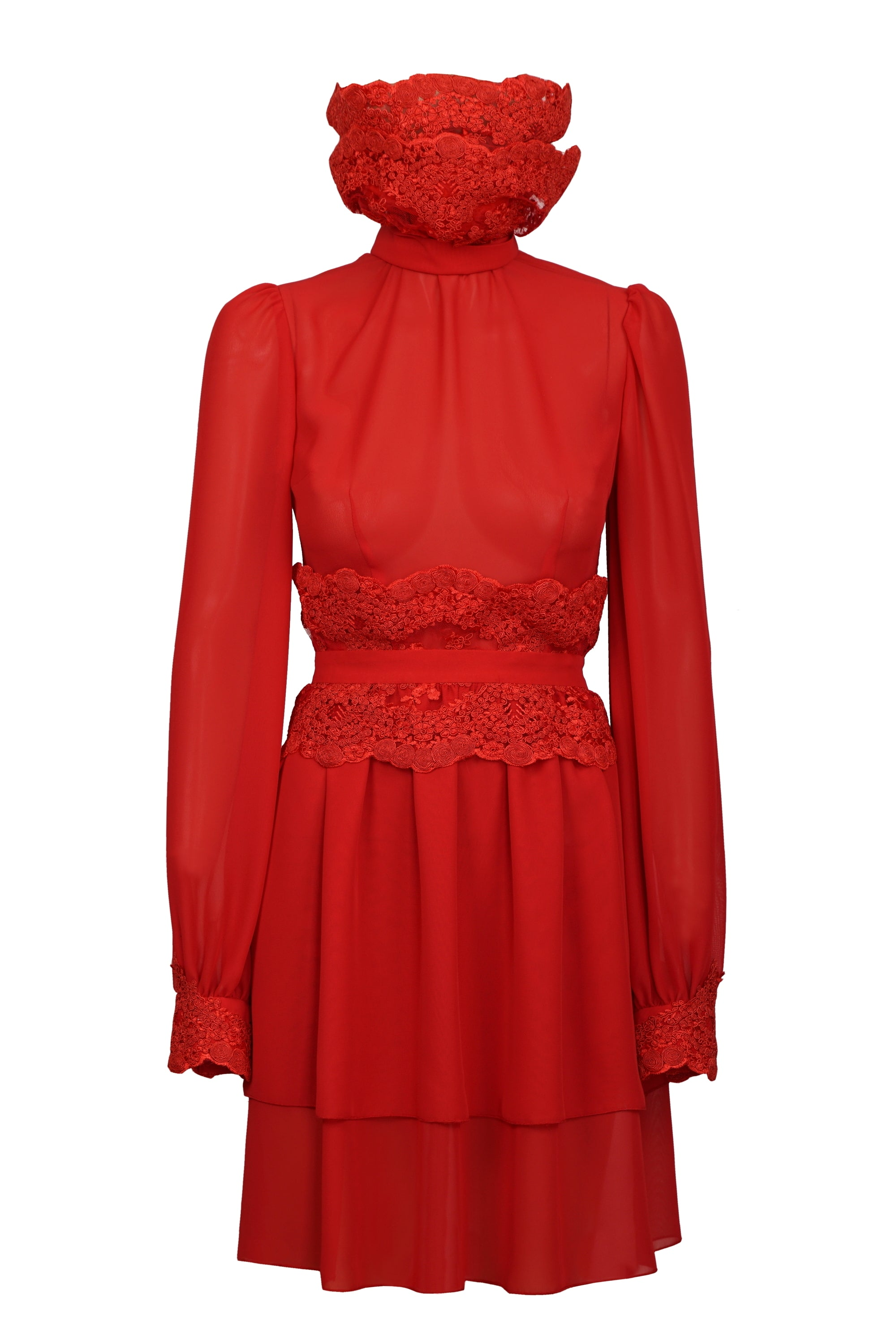 RED SILK DRESS WITH OVER SIZED EMBROIDERED COLLAR
