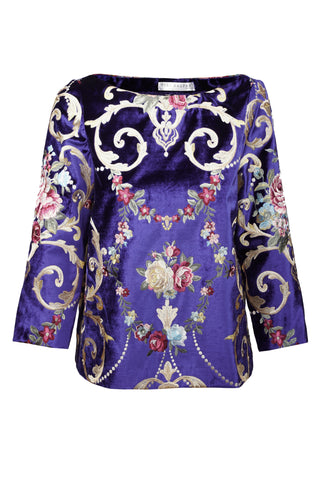 ROYAL BLUE VELVET TOP WITH EMBROIDERY
