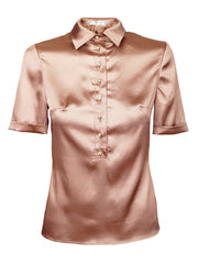 LATTE SILK BLOUSE WITH CUFFED SLEEVES