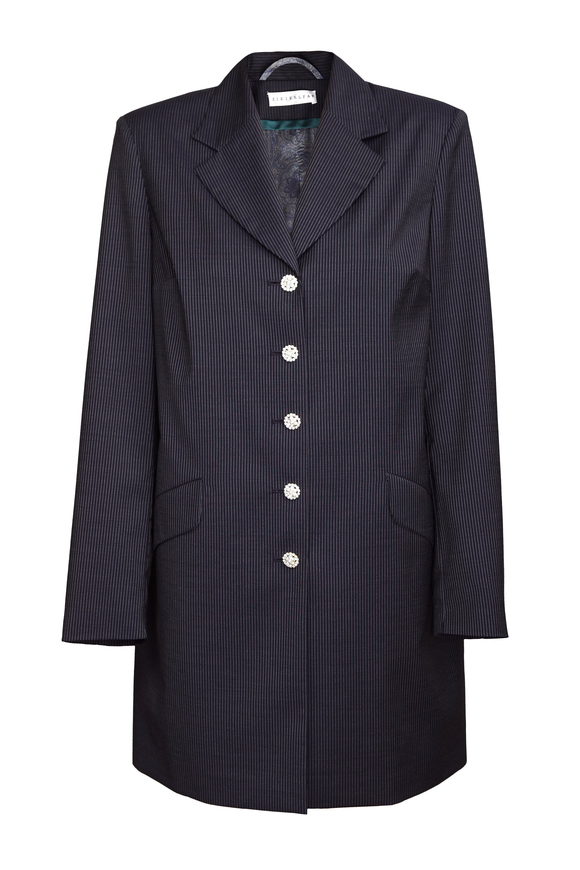 BLACK PIN STRIPE COAT WITH PRECIOSA BUTTONS
