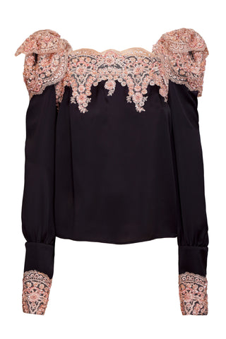 BLACK SILK TOP WITH DUSTY PINK EMBROIDERY APPLIQUE