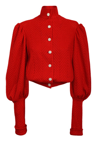 RED HERRINGBONE KNIT WOOL CARDIGAN