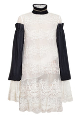 WHITE EMBROIDERED DRESS WITH BLACK PLEATED SLEEVES