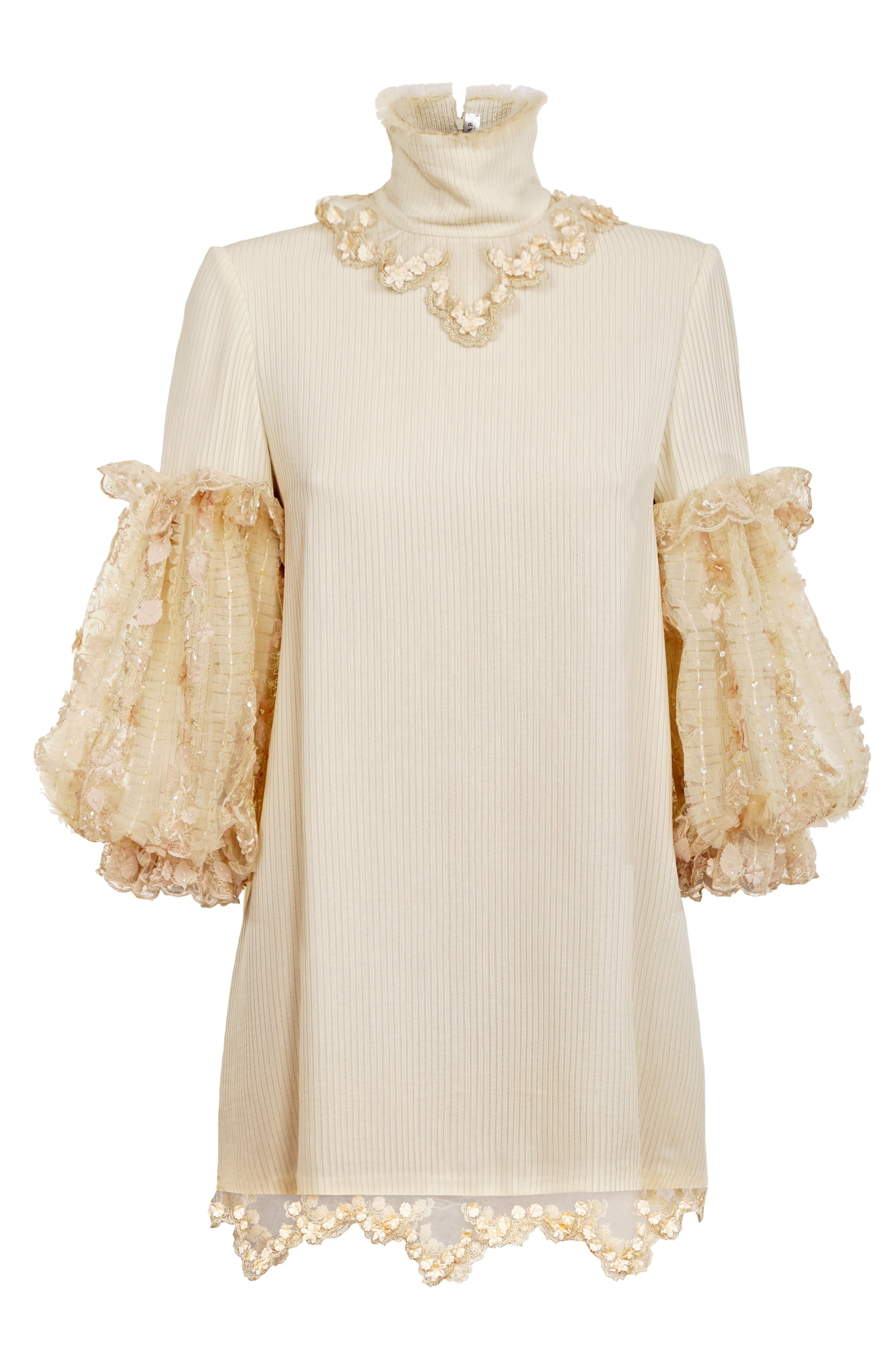 KAPOK CREAM DRESS WITH LACE BOUFFANT SLEEVES