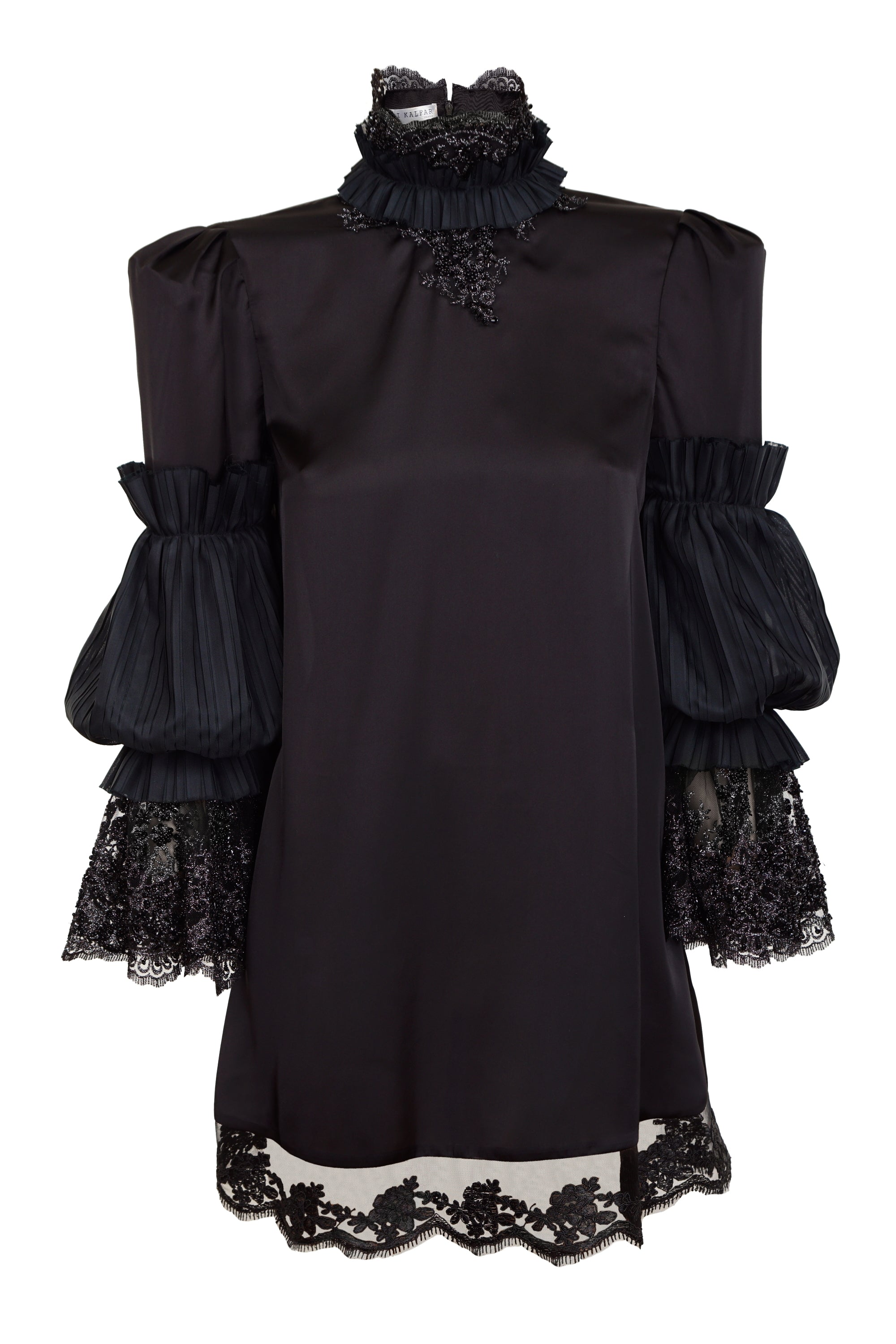 BLACK SILK DRESS WITH HIGH NECK  AND EMBROIDERY