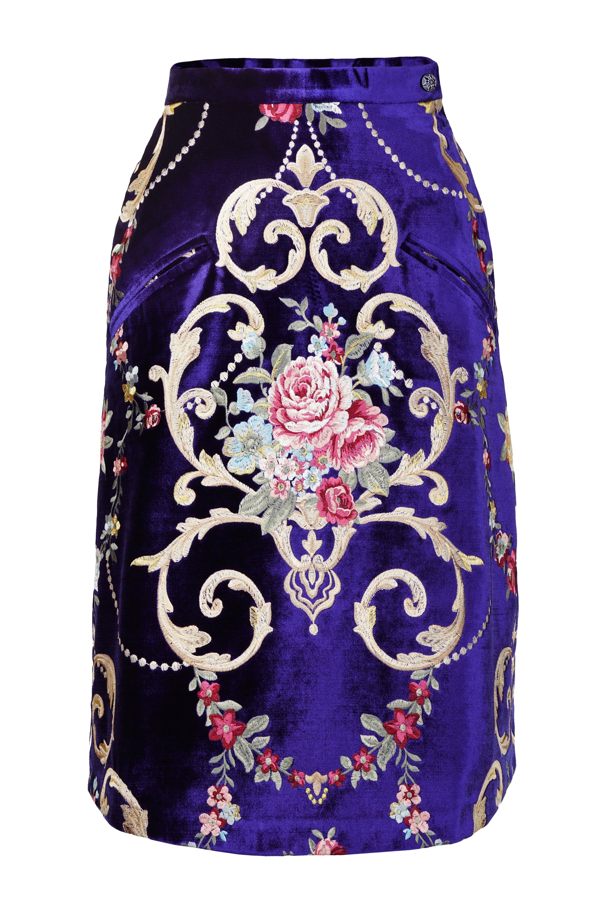 ROYAL BLUE VELVET EMBROIDERED SKIRT