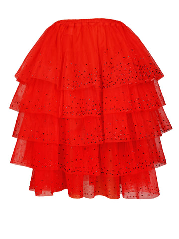 RED ORGANIC TULLE MULTI-TIERED RUFFLE SKIRT