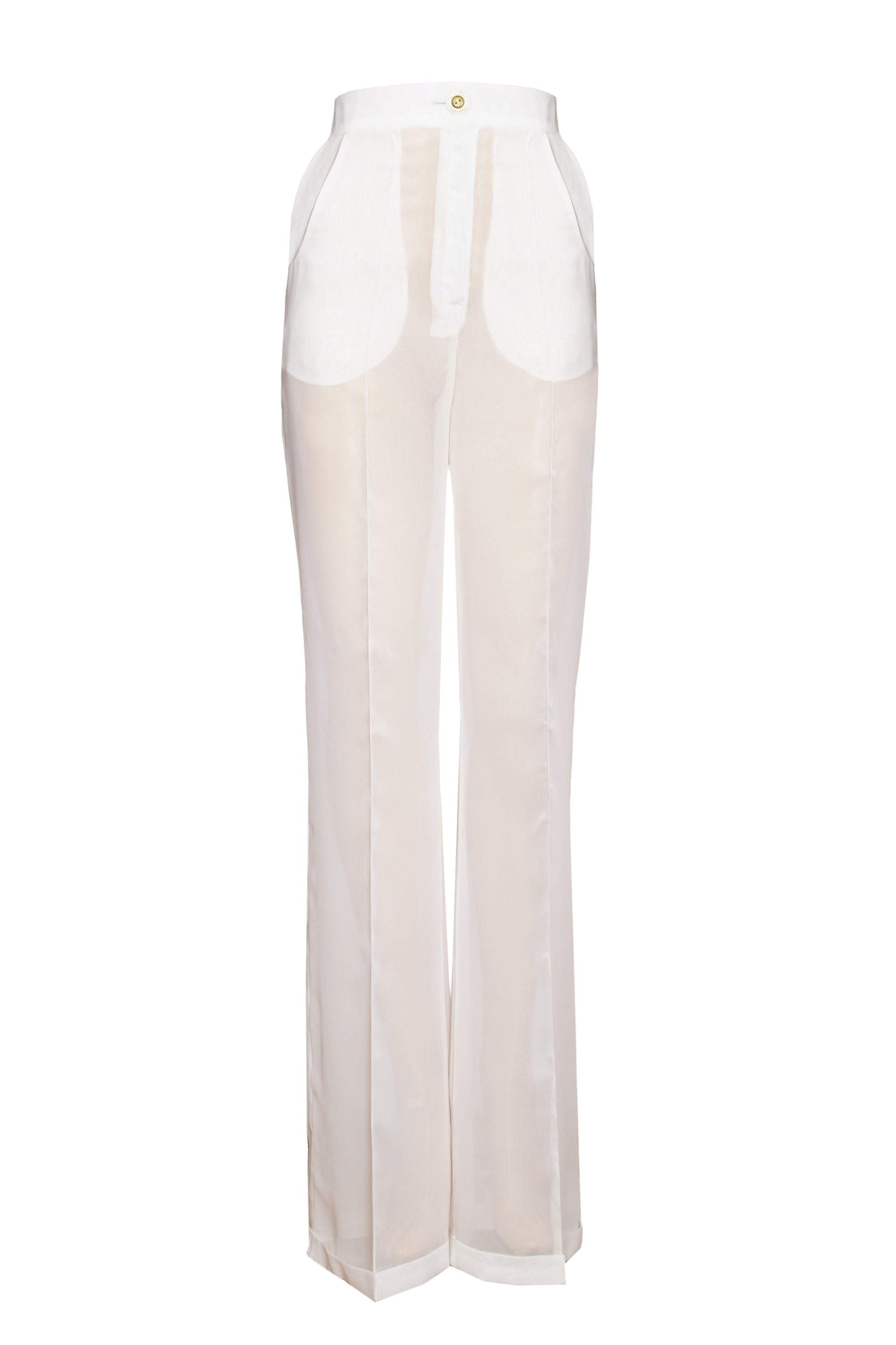 WHITE SILK CHIFFON TROUSERS WITH CREASE