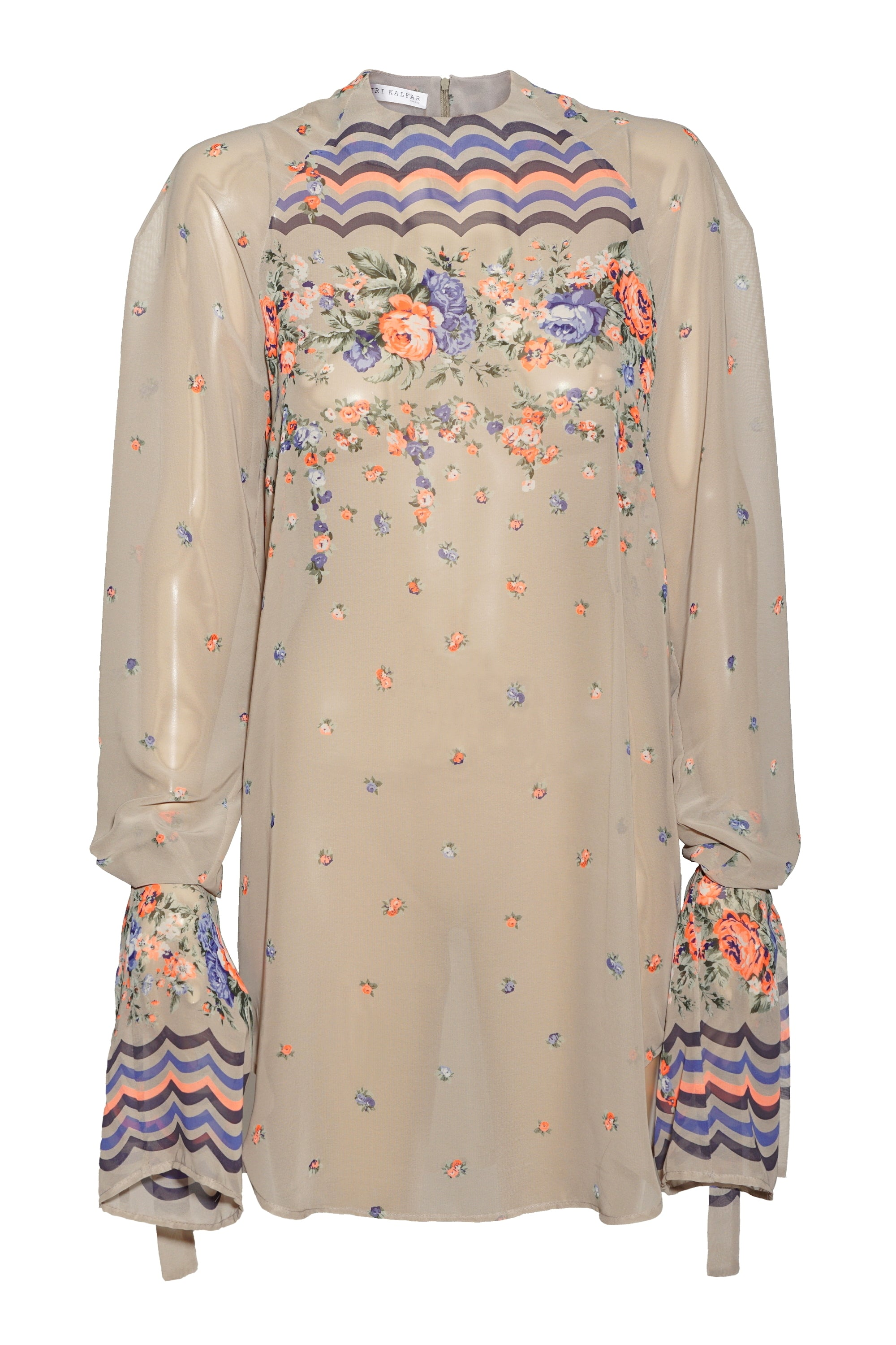 FLORAL PATTERN BLOUSE WITH RIBBONS
