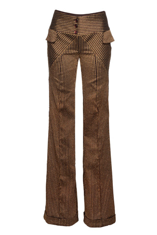 BROWN & GOLD STRIPED TROUSERS