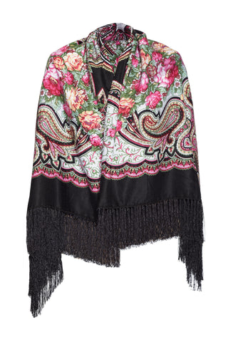 FOLK PATTERN SCARF BLACK