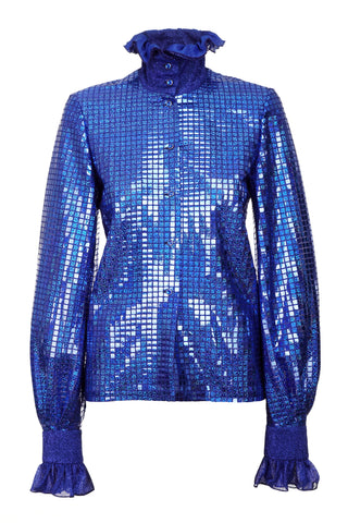 ROYAL BLUE SEQUIN SHIRT