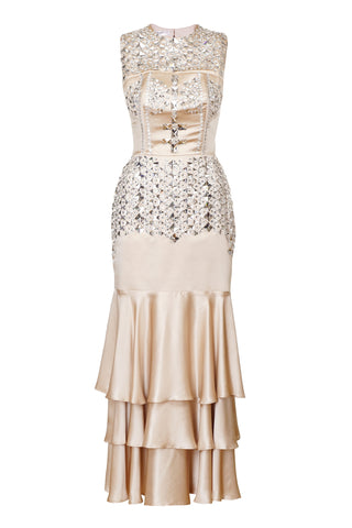 NUDE CRYSTAL EMBELLISHED GOWN