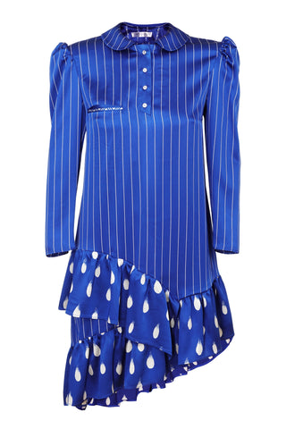 NAVY BLUE & WHITE STRIPE DRESS WITH RUFFLESS