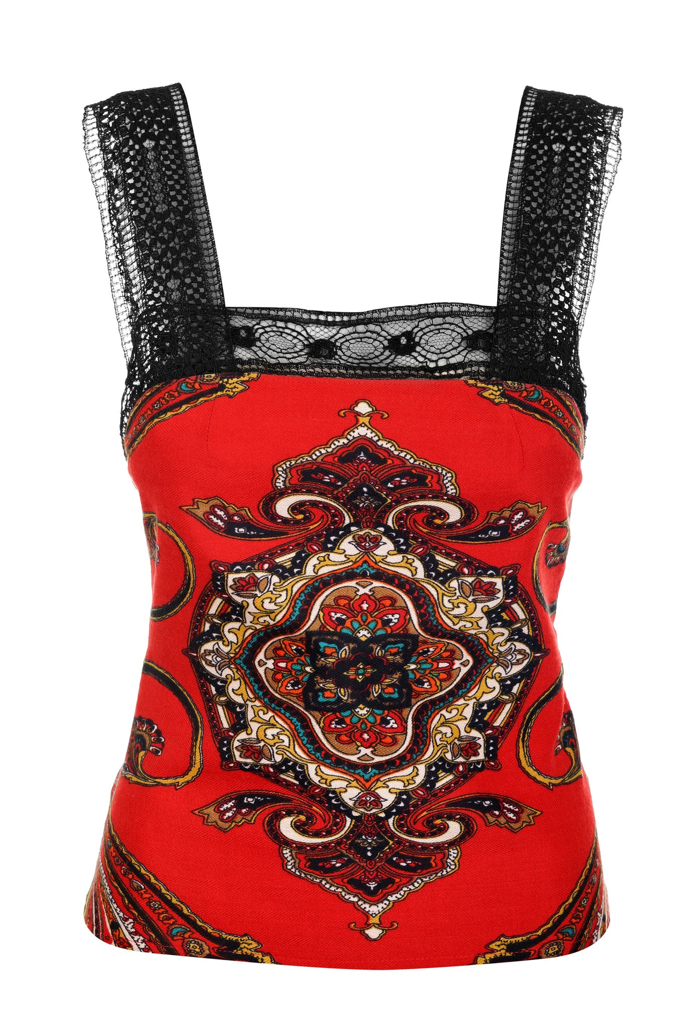 RED PATTERN TANK TOP