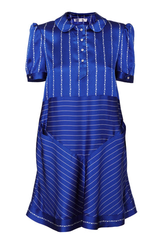 NAVY BLUE & WHITE STRIPE DRESS WITH PETER PAN COLLAR