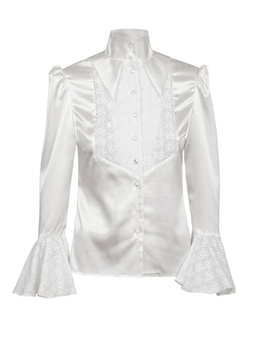 CRÈME SATIN SHIRT WITH RUFFLES