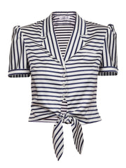 STRIPE TOP WITH NOTCHED COLLAR AND KNOT