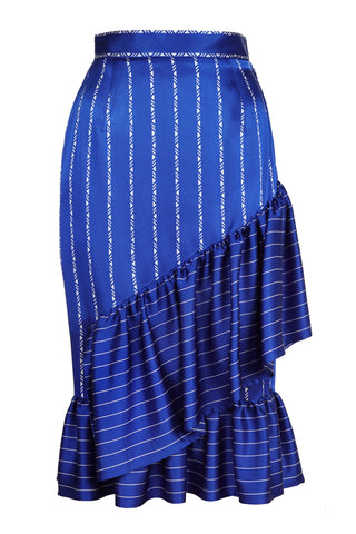 NAVY BLUE & WHITE STRIPE RUFFLE SKIRT