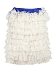 CREAM MULTI TIERED RUFFLE DRESS WITH BLUE RIBBON