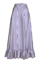 STRIPE MAXI SKRIT WITH RUFFLES