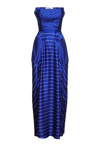 LONG NAVY-BLUE & WHITE STRIPE DRESS WITH SLITS