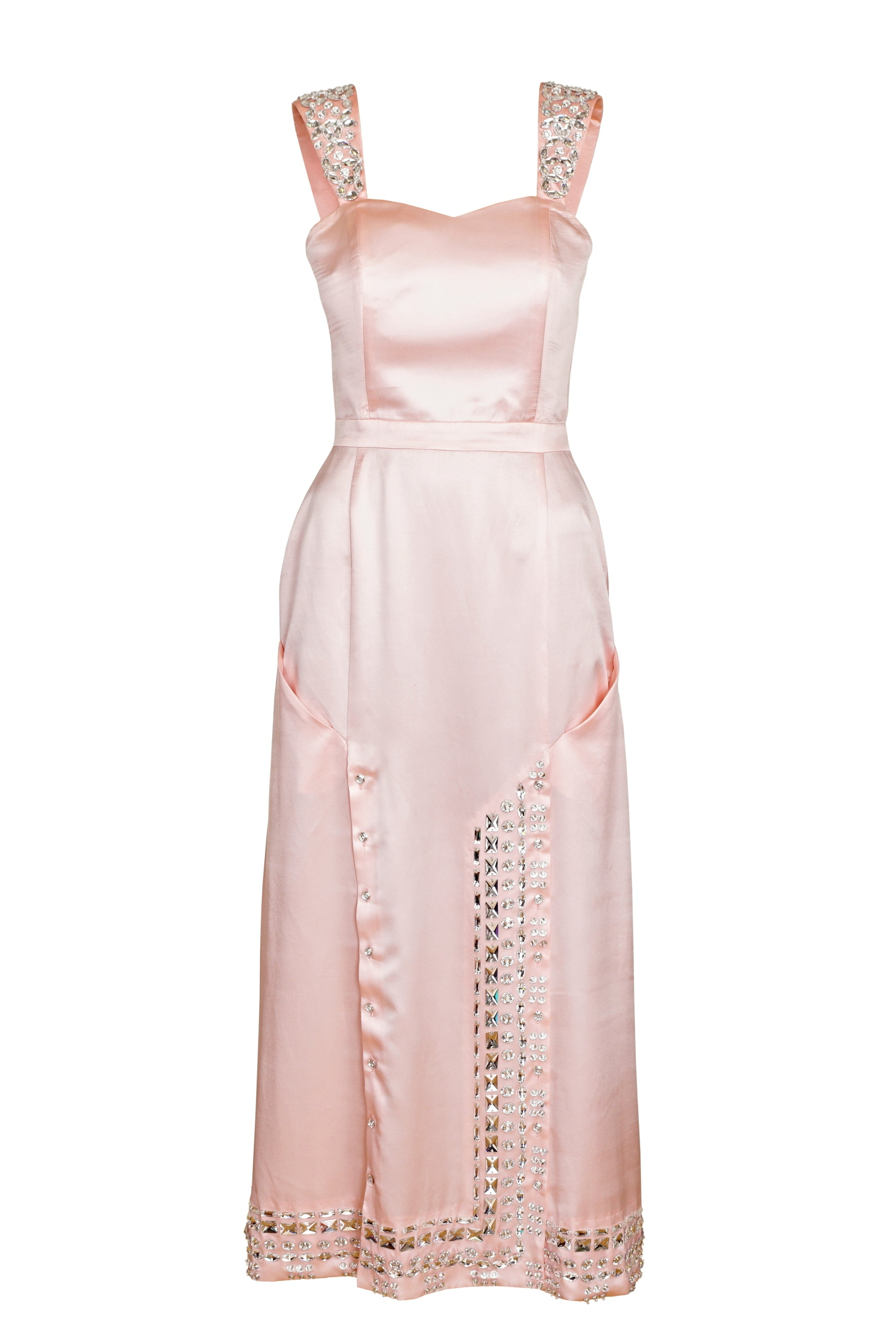 LIGHT PINK CRYSTAL EMBELLISHED DRESS