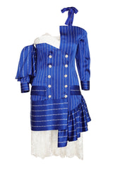 NAVY BLUE & WHITE STRIPE SHOULDER LESS DRESS